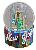 NY Icons Script Color 65mm Snowglobe - W/ WTC