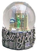 NY Icons Script Silver 65mm Snowglobe - W WTC