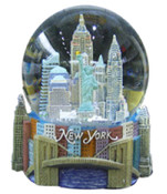 NY Skyline and Bridge Color 80mm Snowglobe