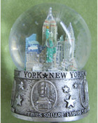 NY Icons In Circles Silver 65mm Snowglobe