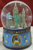 NY Icons In Circles Color 45mm Snowglobe