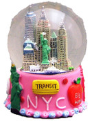 NYC Transit Pink 45mm Snowglobe - w 1 WTC Added