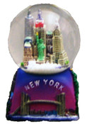 NYC Icons Square Base Purple 45mm Snowglobe with WTC inside.