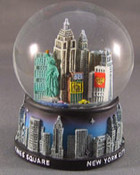 NY Midnight Skyline Blue 45mm Snowglobe