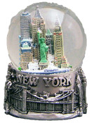 NY Skyline and Sea Pewter 45mm Snowglobe - W Wtc