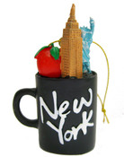 NYC Icons Black Mini Mug Ornament