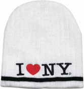 I Love NY White Winter Hat