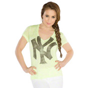 "Yankees Ladies Neon Yellow ""Look at Me!"" Burnout T-Shirt- By Alyssa Milano"