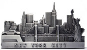 NYC Skyline 2-Tiered Pewter Business Card Holder
