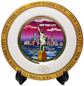 NYC Purple Skyline Gold Edged Souvenir Plate - 6 Inch