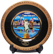 NYC Blue Skyline Black Gold Edged Souvenir Plate - 6 Inch