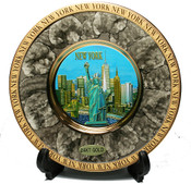 NY Skyline Marble Design Gold Edged Plate - Chokin Art 8 Inch