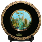 NY Skyline Gold Edged Plate - Chokin Art 8 Inch