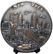NY Skyline 3D Souvenir Plate with Taxi - 8 Inch