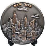 NY Skyline 3D Souvenir Plate - 6 Inch