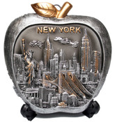 NY Skyline Apple Shaped Souvenir Plate - 6 Inch