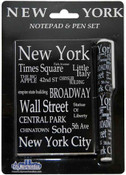 NYC Landmarks White Letters Notepad and Pen
