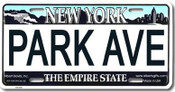 Park Ave NY License Plate