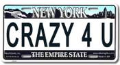 Crazy 4 U NY License Plate