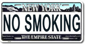 No Smoking NY License Plate