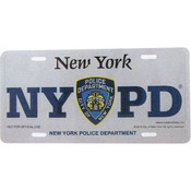 NYPD License Plate - White