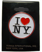 I Love NY White Circle Pin