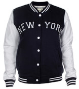 New York Jr. Ladies Cotton Varsity Jacket - Navy