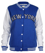 New York Jr. Ladies Cotton Varsity Jacket - Royal Blue