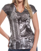 Empire State Building Rhinestones Black Ladies T-Shirt