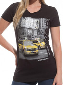 NYC Taxis in Times Square V-Neck Ladies T-Shirt