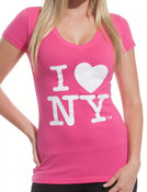 I Love NY Ladies V-Neck T-Shirt - Pink