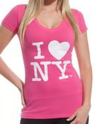 I Love NY Ladies V-Neck T-Shirt - Pink
