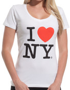 I Love NY Ladies V-Neck T-Shirt - White alt 1