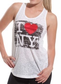 I Love NY White Brushed Burnout Racerback Tank
