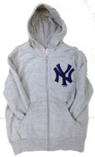 Yankees Grey Youth Full-Zip Hooded Sweatshirt