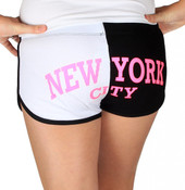 New York City Black & White Hi-Cut Shorts - back