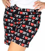 Black I Love NY Pajama Shorts