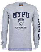 NYPD Full Chest and Sleeve Grey LS Tee