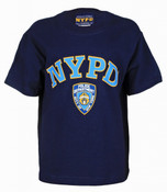 NYPD Full Chest Color Navy Kids Tee with Light Blue Lettering