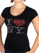 I Love NY Rhinestone V-Neck Ladies Tee - Black