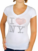 I Love NY Rhinestone V-Neck Ladies Tee - White