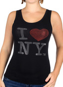 I Love NY Black Rhinestone Tank Top