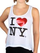 White I Love NY Ladies Flowy Foil Tank