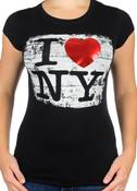 I Love NY Brushed Foil Black Ladies T-Shirt