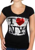 I Love NY Brushed Foil Black Ladies V-Neck T-Shirt