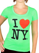 I Love NY Deep Crew Ladies T-Shirt - Neon Green