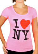 I Love NY Deep Crew Ladies T-Shirt - Neon Pink