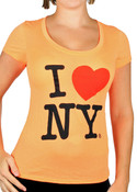 I Love NY Deep Crew Ladies T-Shirt - Neon Orange