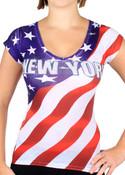 New York American Flag V-Neck Rhinestone Ladies T-Shirt - front