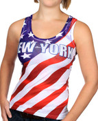 New York American Flag Rhinestone Tank Top